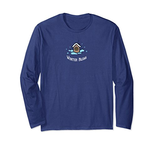 Bliss Ski (Unisex Winter Bliss Snow Cabin Skiing Skating Long Sleeve Shirt Medium Navy)