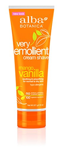 Vanilla Alba Mango Cream - Alba Botanical Mango Vanilla Very Emollient Cream Shave, 8 Ounce Tubes (Pack of 4)
