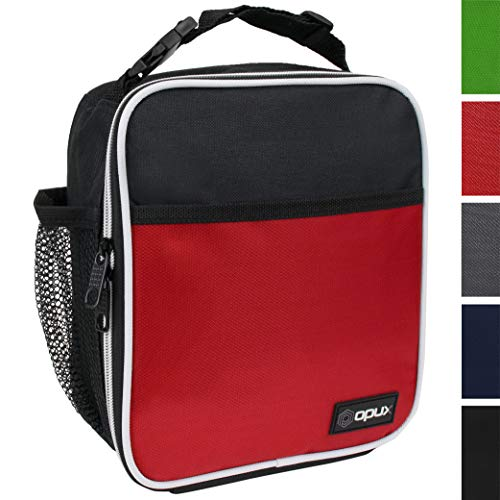 OPUX Premium Insulated Lunch Box | Soft Leakproof School Lunch Bag for Kids, Boys, Girls | Durable Reusable Work Lunch Pail Cooler for Adult Men, Women, Office - Fits 6 Cans (Red)