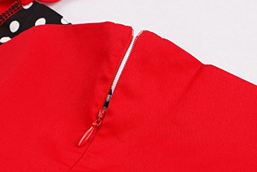 Aecibzo Femmes Vintage Des Années 1950 Licol Rétro Robe Swing Cocktail De Rockabilly Rouge-points