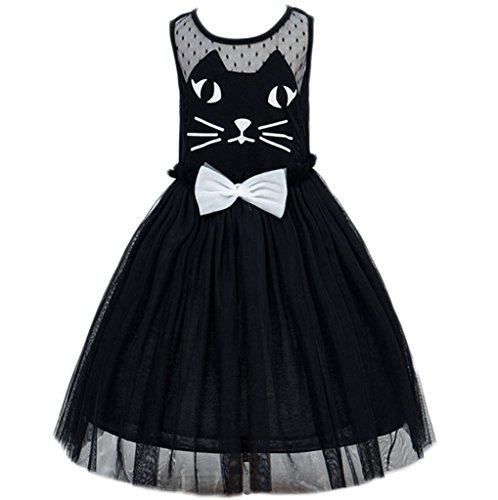Kids Showtime Little Girl Baby Flower Cat Cosplay Costume Dress(Black,7-8Y) (Little Girl Black Cat Costume)