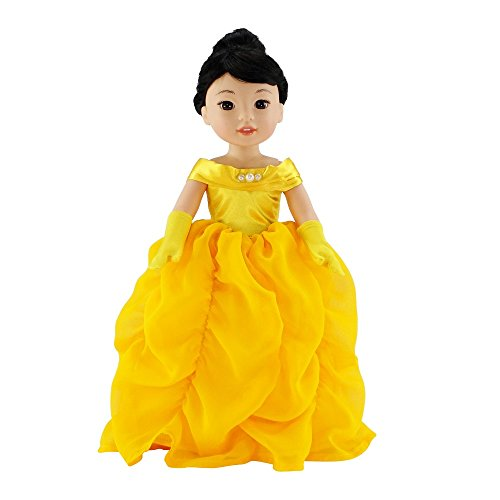 14Inch Doll Clothes/Clothing | Gorgeous Princess Belle-Inspired Costume Ball Gown Outfit with Beaded Accents and Matching Gloves | Fits American Girl Wellie Wisher - Shoes Heart Yellow Doll