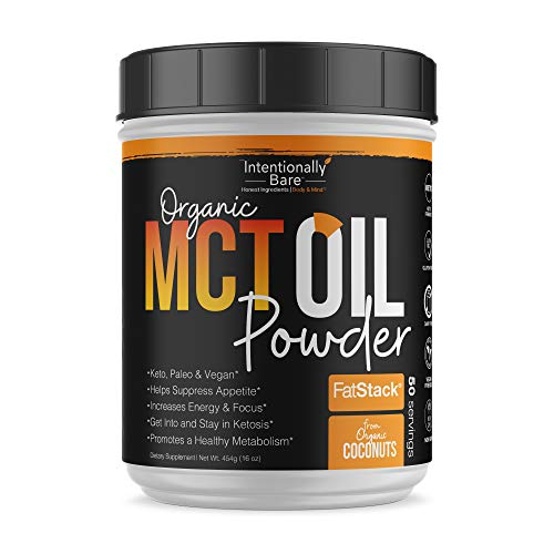 Organic MCT Oil Powder - Zero Net Carbs - No Grit Formula - Keto - Paleo - Vegan Friendly - 70% C8 - 30% C10 - Excellent in Shakes - Smoothies & Coffee - Unflavored - 50 Servings