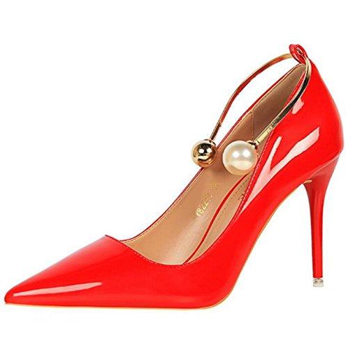 Mashiaoyi Damen Spitze-Zehe Stiletto ohne Verschluss Wulstig Pumps Rot