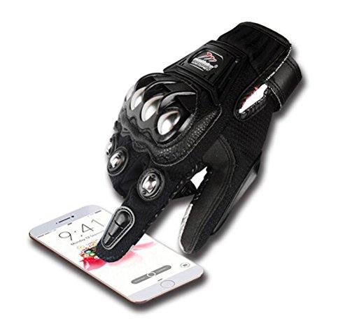 Men's Full Finger Racing Gloves Carbon Fiber Touchscreen Gloves Motorcycle Breathable Gloves Knight Gloves Ridding Gloves (XXL, black)