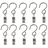 Gimvavo 50 Pack Stainless Steel Clip Hangers, S Shaped Hooks for Outdoor Holiday String Light, Multifunctional Metal Clamp Hanger for Curtain