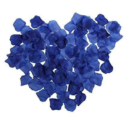 CJESLNA 1000pcs Royal Blue Artificial Silk Rose Flower Petals Wedding Bridal Party Decoration Table Scaters (Blue Roses Flowers)