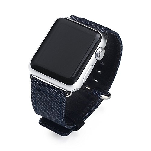 ICE FROG iWatch 42mm Band, Denim Jean Style Replacement Cloth Genuine Leather Wristband Bracelet Strp with Metal Buckle for Apple Watch Sport Edition - Dark Blue Frog Denim