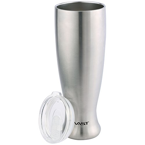 Vastigo Double Wall Stainless Steel 23 oz Pilsner Shaped Mug w/Vacuum Insulation | Copper Lining | Clear Plastic Lid - Stainless ()