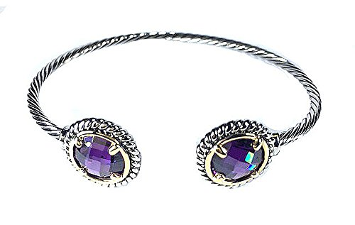 Two-tone Cable Twist Wire Rhodium Plated Bangle Bracelet with Large Amethyst Cubic Zirconia Crystal Stone (Amethyst Cable Bangle)