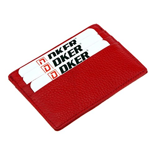 DKER Handmade Genuine Leather Unisex Slim Super Thin Card Holder With ID Card Window - Red - Leather Womens Money Clip