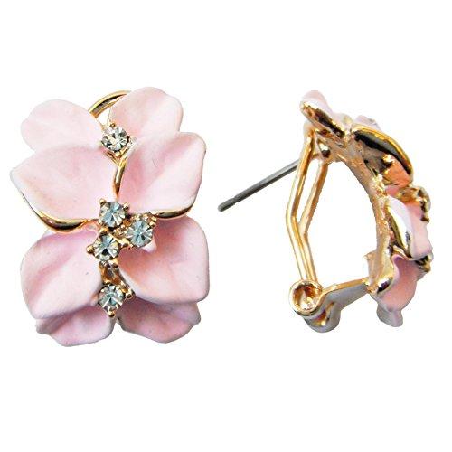 Navachi 18k Gold Plated Crystal Light Pink Enamel Leaves Flower Omega Earrings