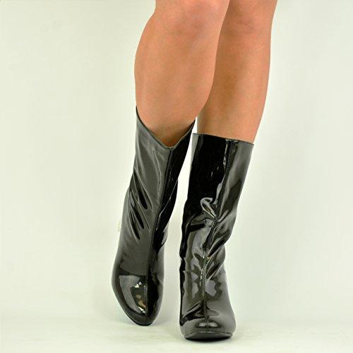 Cucu Fashion - Sandalias con cuña mujer negro (black patent)