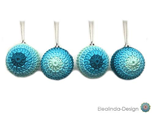 Christbaumkugeln Gestreift.4 Stuck Christbaumkugeln Blau Turkis Mint Weihnachten