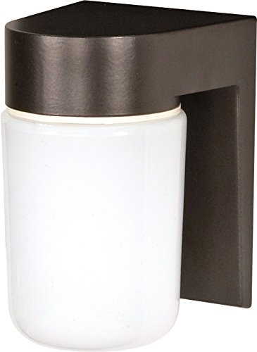 Nuvo Lighting SF77/138 Utility Fixture Die Cast Aluminum Durable Outdoor Wall Mount Porch and Patio Light with White Glass Cylinder, Bronzotic