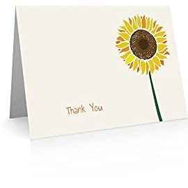 """Sunflower Thank You Cards (24 Foldover Cards and Envelopes) 5 Thank You Cards & Envelopes (24 cards and envelopes) High Quality Note Card Set Premium 100# Classic Crest Cover Stock with Quality Matching Blank Bright White Envelopes 6"""" x 8.5"""" folds to 6"""" x 4.25"""""""