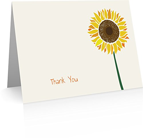 Sunflower Thank You Cards (24 Foldover Cards and Envelopes)