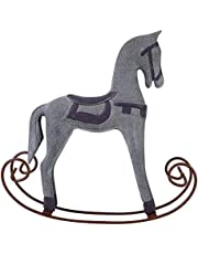 HelloCreate Rocking Horse Handmade Wooden Rocking Horse Carved Painted Kids Toy Gift Table Decoration (Grey)