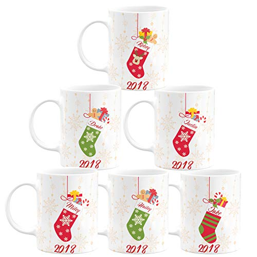 Christmas Gifts Personalized Coffee Mug - Socks with Your Family Name - 11oz - 5 Different Designs - Christmas Gifts, Birthday Gifts, Housewarming Gifts - Design 3 - Set of 6 -