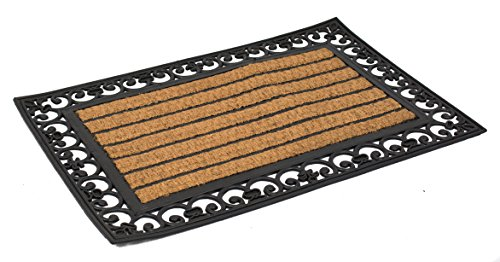 Rug Black Scroll Border - BirdRock Home 24 x 36 Rectangular Natural Coir and Rubber Doormat with Scroll Border | Natural Fibers | Outdoor Doormat | Keeps your Floors Clean | Decorative Design | Non Brush Coir