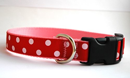 Handmade Dog Collar- Valentine's Day Dog Collar- Big Red Dots on Pink
