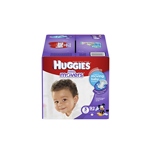 HUGGIES Little Movers Diapers, Size 3, 92 Count