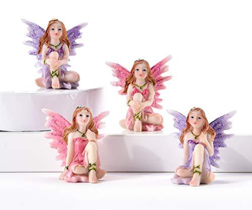Believe in Fairies Purple & Pink Mini Resin Garden Figurines Gift Boxed Set of -
