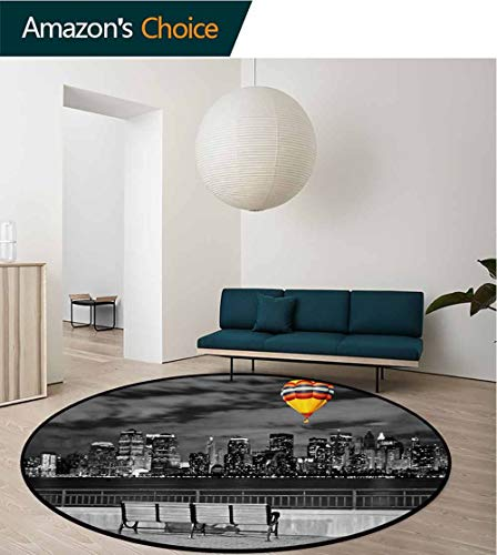 RUGSMAT Black and White Carpet Gray Round Area Rug,NYC Skyline from Liberty State Park with Vibrant Air Balloon in Sky Print Pattern Floor Seat Pad Home Decorative Indoor,Diameter-31 Inch -