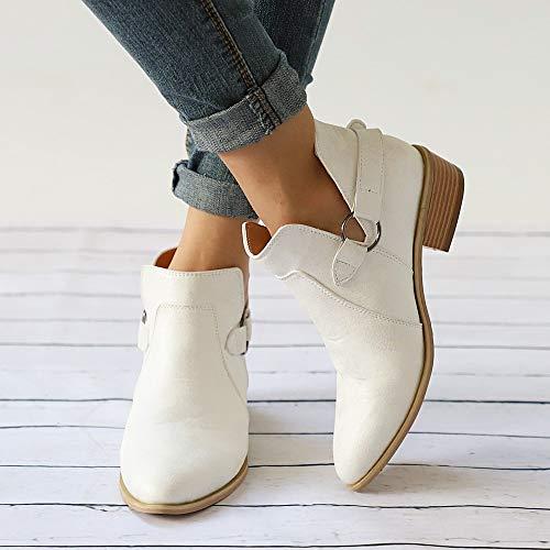 2018 Botines TacóN Ancho Altas De CuñA para Mujer OtoñO Verano Botines CuñA con Hebilla Botas Chelsea Fashion Casual Zapatos De Punta SeñOra Moda CóModos ...