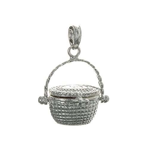 925 Sterling Silver Nautical Charm, 3-D Nantucket Basket, Lid and Handle, - Basket Sterling Charm Silver