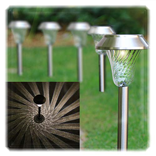 - Enchanted Spaces Silver Solar Path Light, Set of 6, with Glass Lens, Metal Ground Stake, and Extra-Bright LED