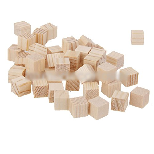 50Pcs Natural Wooden Squre Mini Cubes Embellishment for Craft 10x10x10mm ()