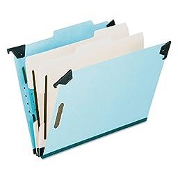 Pendaflex 59352 Pressboard Hanging Classi-Folder, 2 Divider/6-Sections, Legal, 2/5 Tab, Blue, 10-pack