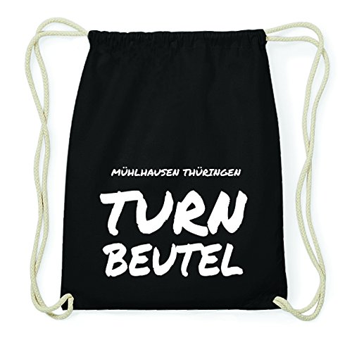 JOllify MÜHLHAUSEN THÜRINGEN Hipster Turnbeutel Tasche Rucksack aus Baumwolle - Farbe: schwarz Design: Turnbeutel 5H29Cr