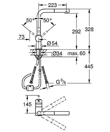 taille L Minta  32168DC0 Import Allemagne Grohe Mitigeur /évier avec douchette exctractible