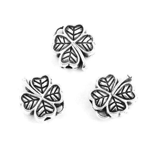 Pendant Jewelry Making 10 Antiqued Silver 12mm Celtic Lucky Four Leaf Clover Spacer Beads Charms