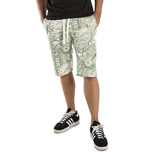 Dollar Bill Green - Vibes Gold Label Men's Ecru Fleece Dollar Bill Green Printed 13