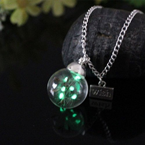 Bottle Pendant Creative Handmade Real Dandelion Seeds Luminous Necklace Glass (Milk Glass Stones)