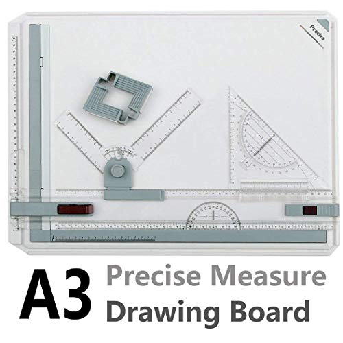 Preciva A3 Drawing Board 50.5 x 37cm Metric System, Drafting Board with Parallel Motion Accessories for Art and Design - White