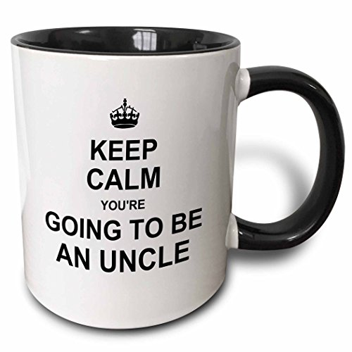 3dRose Keep Calm Youre going to be an Uncle - future uncle - family text gift - Two Tone Black Mug, 11oz (mug_194462_4), 11 oz, Black/White
