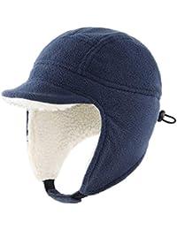 Connectyle Kids Winter Hat with Ear Flap Cap Fleece Visor Hat Outdoor Windproof Hat for Toddler Boy Navy