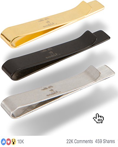 By Nelson Tie Bar Clip - Our Best 925 Sterling Silver Tie Clips That's Perfect for Office Use - Weddings - Suits - Formal Events - 3 Piece Silver, Gold and Black Pack.