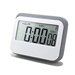 cAoku New Digital Kitchen/Bathroom Timer | Unique Colored Clock in Silicon Case | Large Digital, Loud Alarm Timer with Magnetic Backing & Stand | LCD Digital, Countup, Countdown Grey