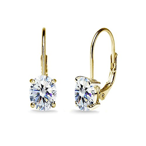 Yellow Gold Flashed Sterling Silver 7x5mm Oval Solitaire Dainty Leverback Earrings Made with Swarovski Zirconia