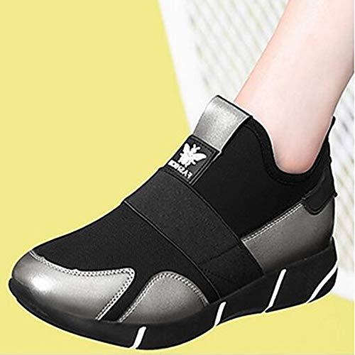 Donna US6 Comoda Primavera Sneakers UK4 CN36 TTSHOES Per EU36 Argento Silver PU Nero Plateau Scarpe Poliuretano 50Xnx7Aqx