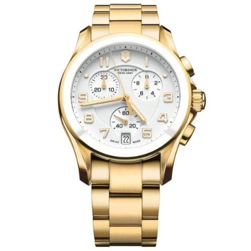 Victorinox Swiss Army Unisex 241537 Gold Steel Chrono Classic with Ceramic Bezel Watch