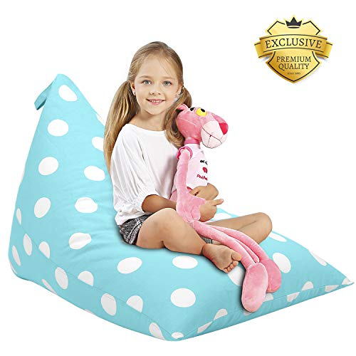 Aubliss Stuffed Animal Storage Bean Bag Chair – Plush Animal Toy Organizer for Kids, Girls and Children Extra Large 23 Inch Long YKK Zipper Premium Cotton Canvas Xmas Gift Ideas