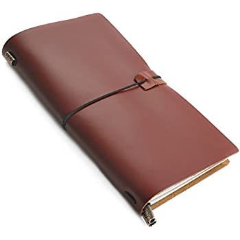 Refillable Genuine Leather Travel Journal - Aventura by RICCO BELLO – Ruled Archival Acid-Free Pages – 3 Inserts, 192 Pages – Dual Storage Zip Pouch (Brown)