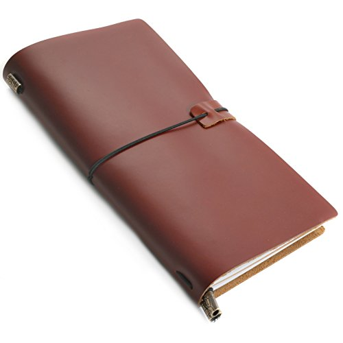 RICCO BELLO Aventura Refillable Handmade Genuine Leather Travelers Journal Lined Notebook (Brown)