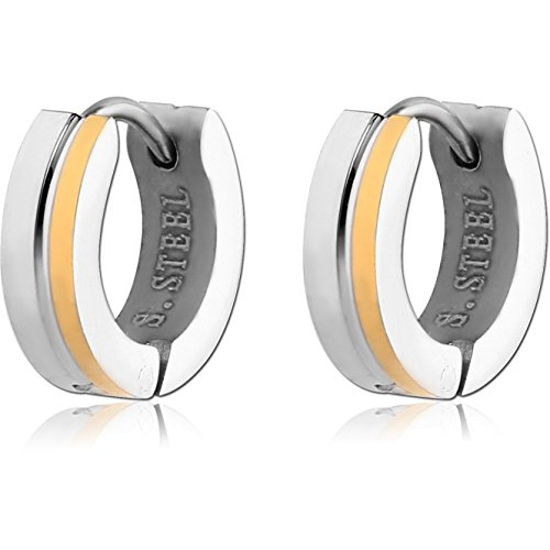 Small Two Tone Gold and Silver Hoop Huggie Earrings with Gift (Diamond Fashion Love Huggie Earrings)